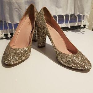 Kate Spade 11B gold glitter block pumps